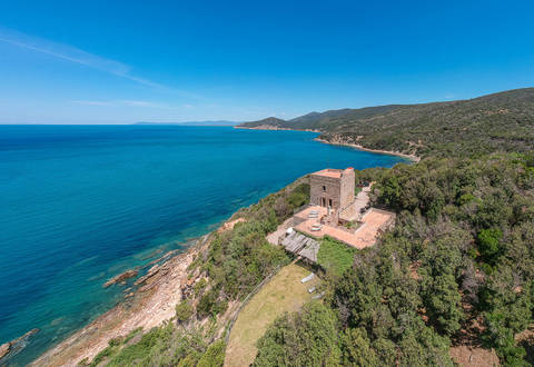 historical villa with tower sea view argentario