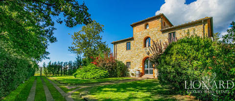 luxury farmhouse with pool for sale in bucine